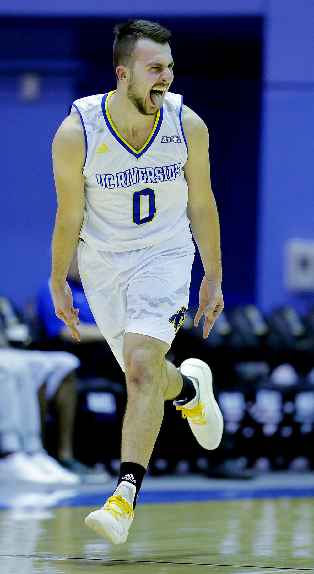 UC Riverside Highlanders guard Dragan Elkaz #0 celebrates after sinking a three point shot against  theLoyola Marymount Lions in the first half of the game at the Student Recreation Center at UCR in Riverside on Saturday, December 22, 2018.