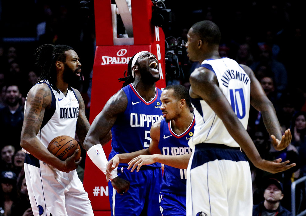 Los Angeles Clippers' Montrezl Harrell (5) yells in an NBA basketball game between Los Angeles Clippers and Dallas Mavericks om Thursday, Dec. 20, 2018, in Los Angeles. The Clippers won 125-121.