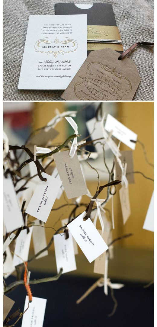 can you tell i love neutrals/kraft? plus, this is a great table card idea both found   here