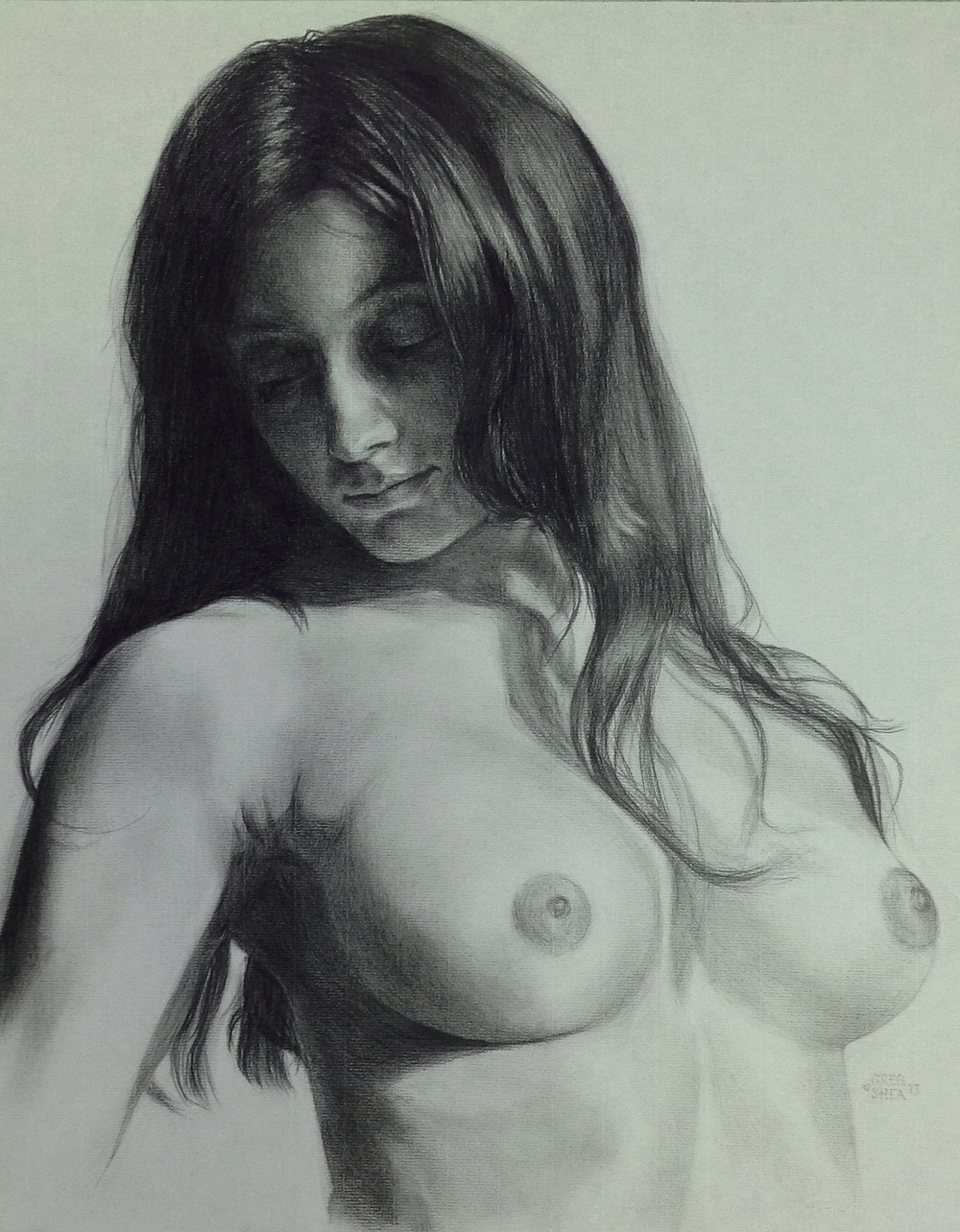 "Sangii  , 2013. Conté pencil on grey laid paper, 18 x 24"". Private collection."