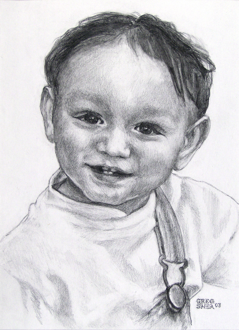 "Niko  , portrait commission, 2003. Graphite on paper, approximately 5 x 7"". Private collection"