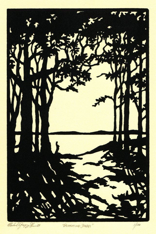 "Gloaming Shades  , 2009. Linoleum block print 6 x 9"", edition of 100.  Sold out."