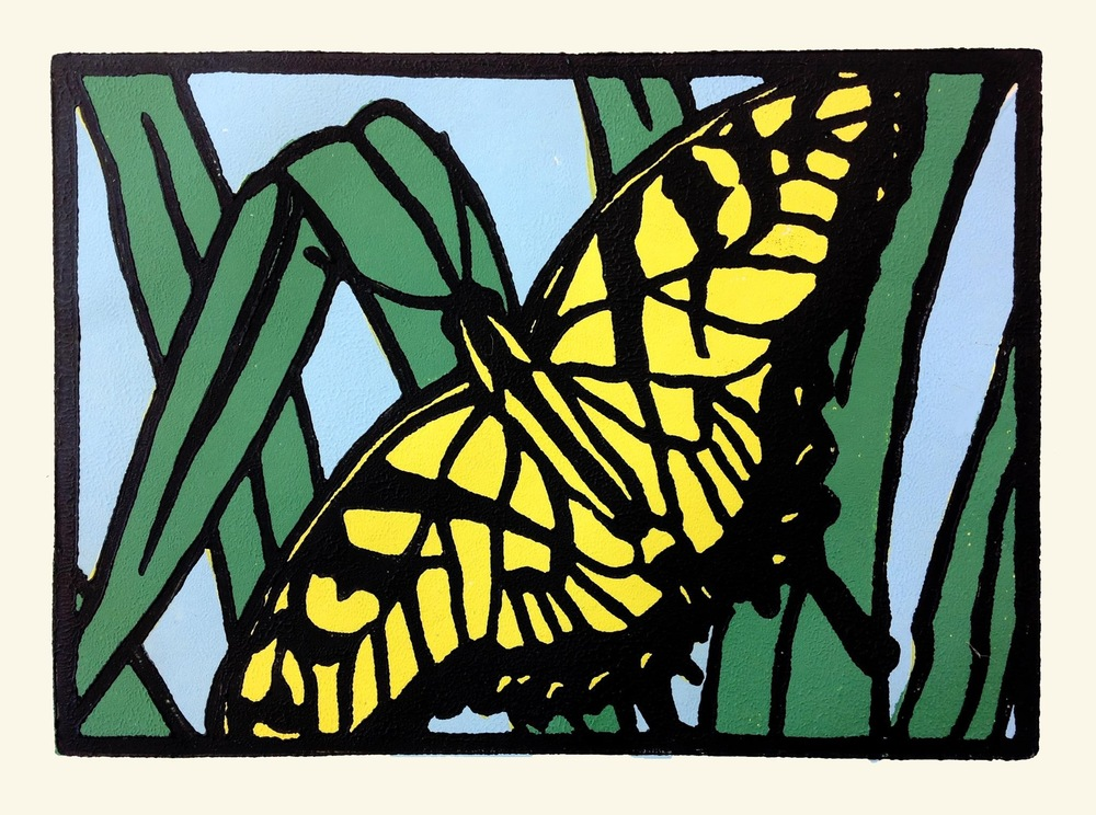 "Papilio glaucus  , 2013. Linoleum Block print, 5 x 7"", open edition.  Available for purchase."