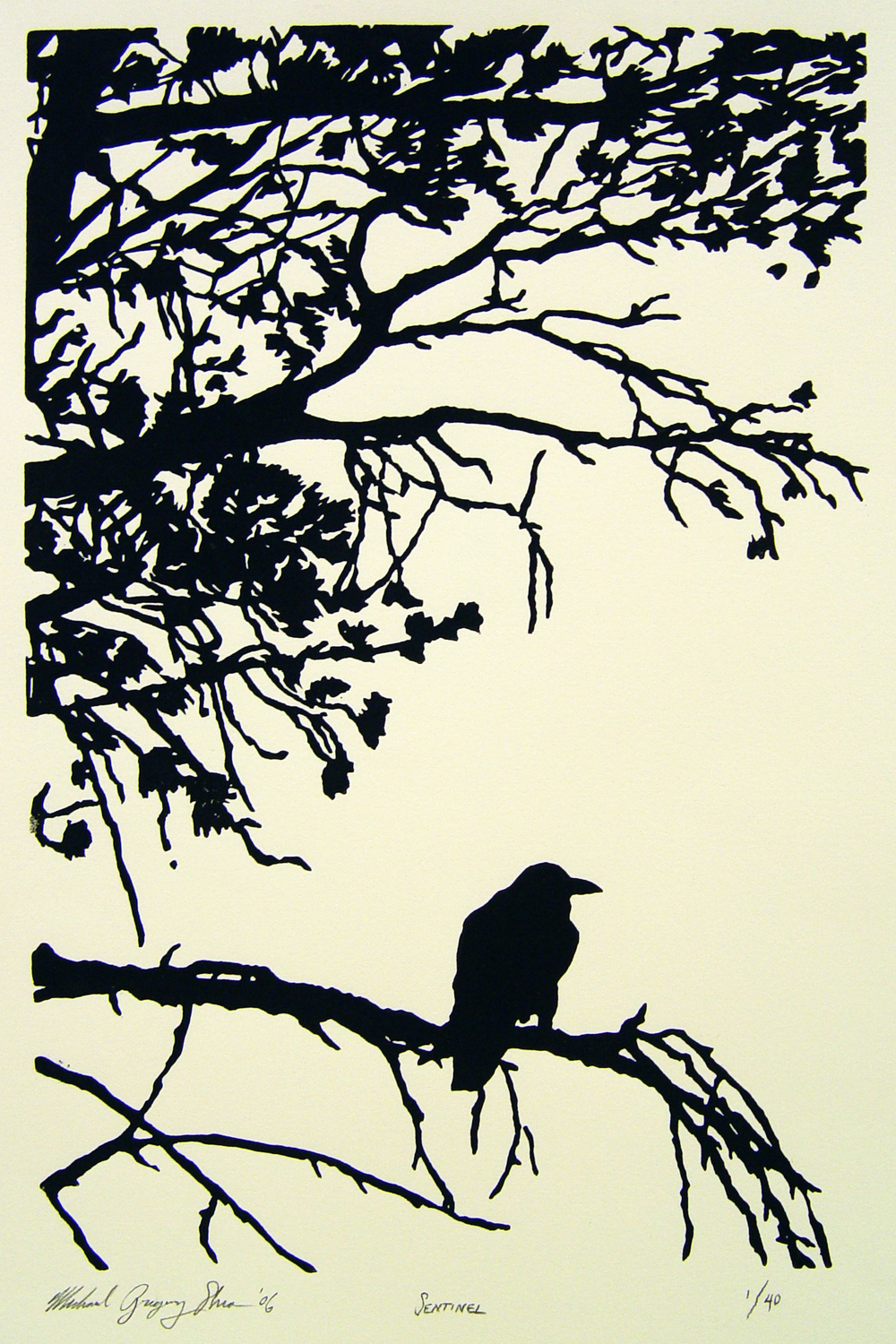 "Sentinel  , 2006. Linoleum block print 6 x 9"", edition of 40. Sold out."