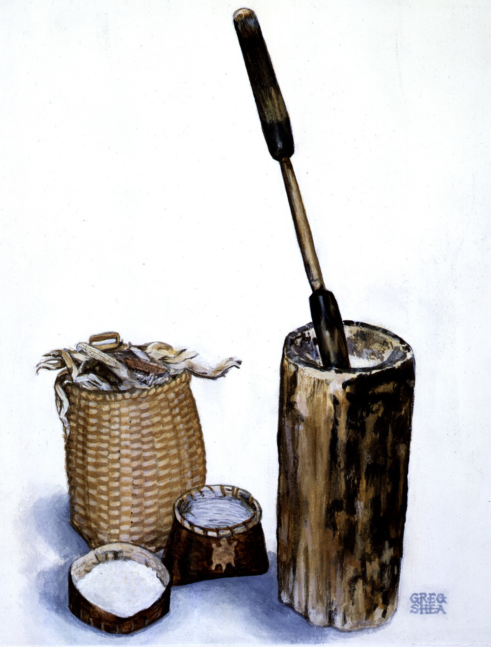 "Native American Corn Pounder  , Illustration, 1993  .   Acrylic on board  ,   7 x 9 1/4"". Available for purchase."