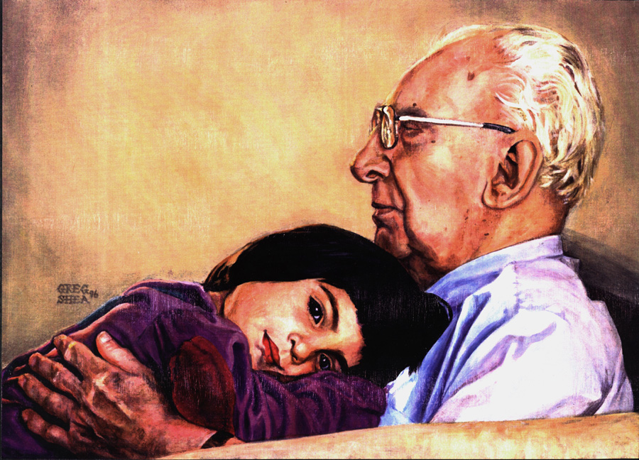 Sitting With Great Grandpa  , portrait commission, 1996  .   Acrylic on board.     Private collection  .