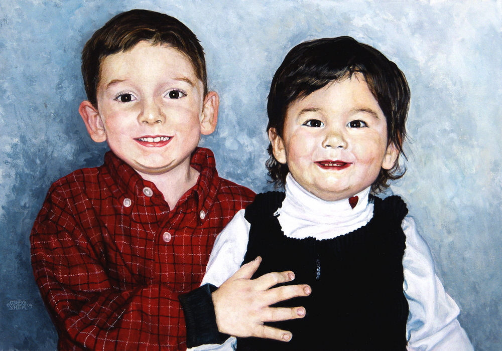Untitled (children)  , Portrait commission, 2004. Acrylic on board. Private collection.