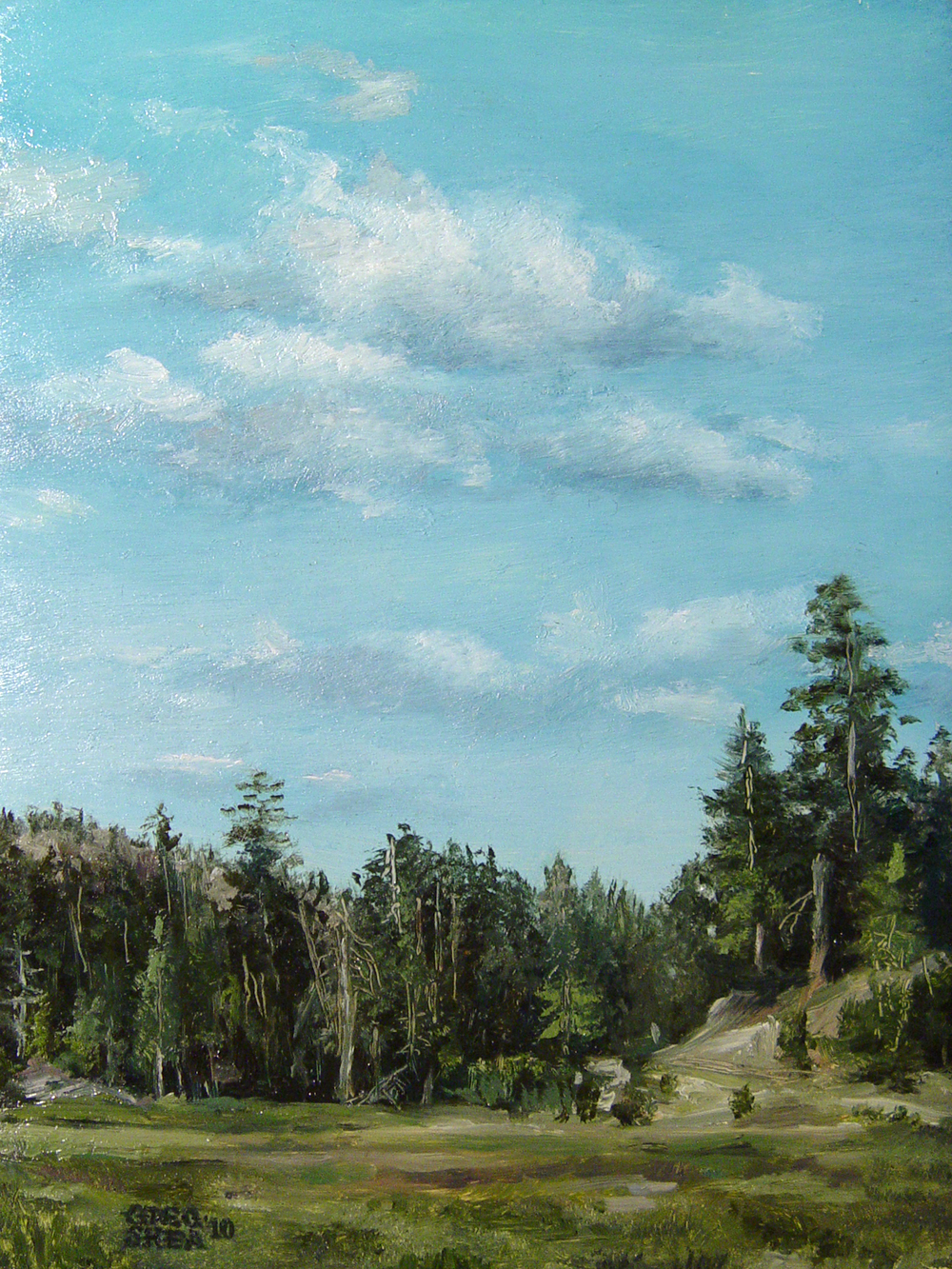 "Mountain Landscape  , 2010. Oil on mahogany panel, 5 x 7"". Private collection"