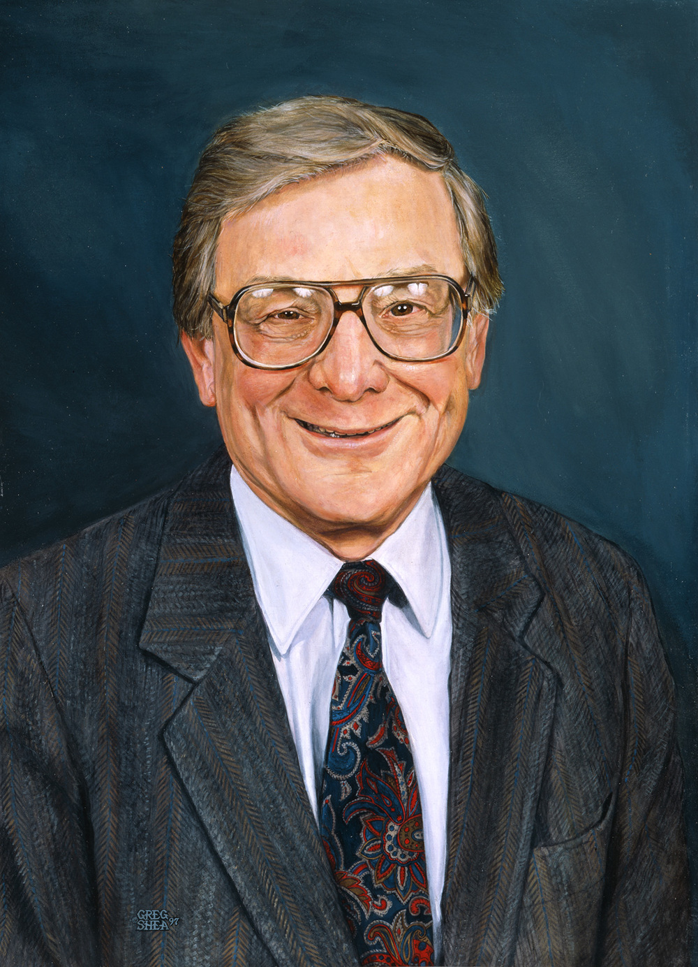 Memorial for a Principal  , portrait commission, 1997  .   Acrylic on board.     Private collection  .