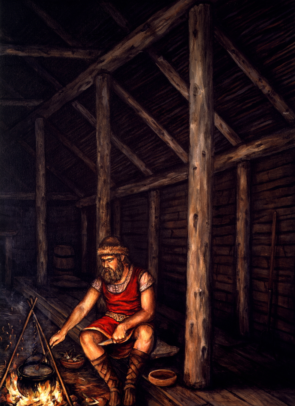 "Sod House Interior  , Illustration, 1993. Acrylic on board, 12 1/2 x 17"". Collection of the artist."