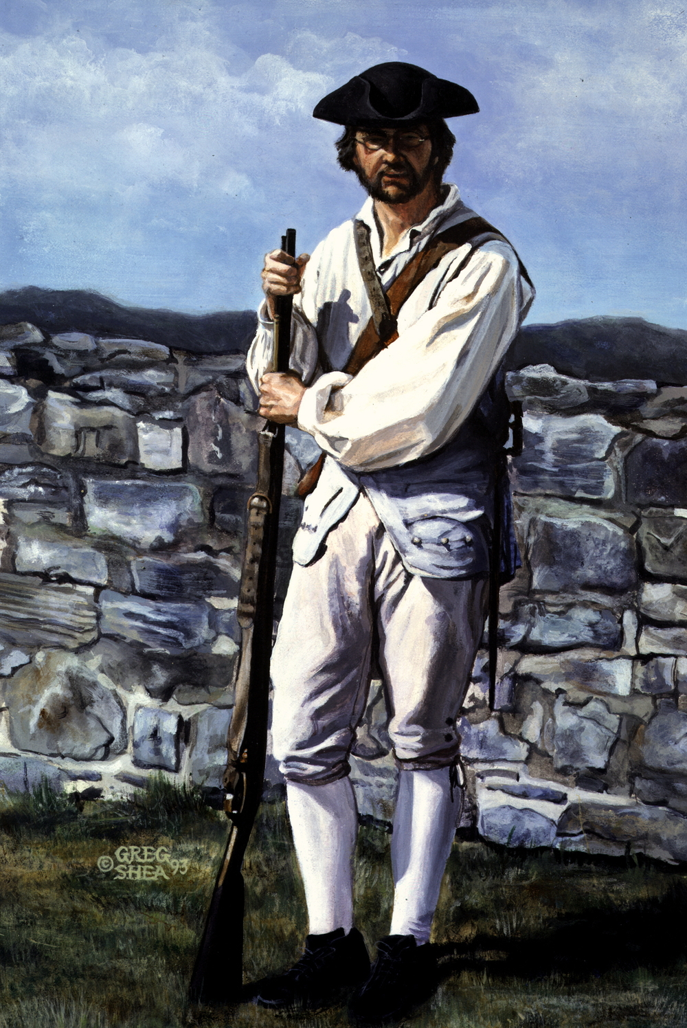 "18th Century French Soldier  , Illustration, 1993. Acrylic on board, 8 1/2 x 12 1/2"". Available for purchase."