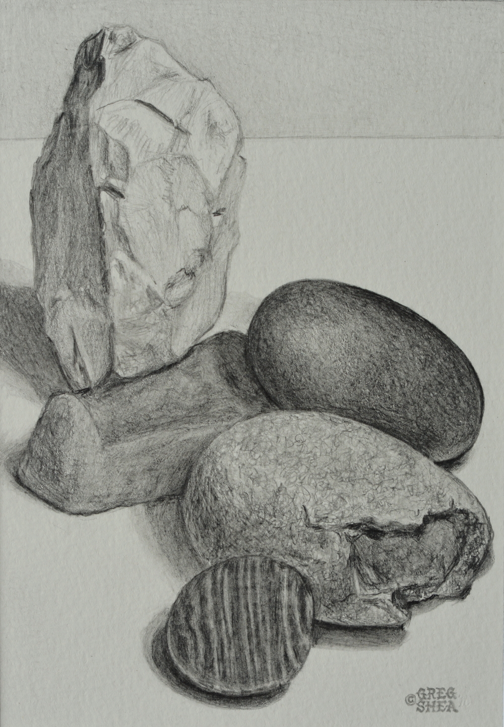 "Still Life With Stones  , 2010. Graphite on paper, 5 x 7"". Available for purchase."