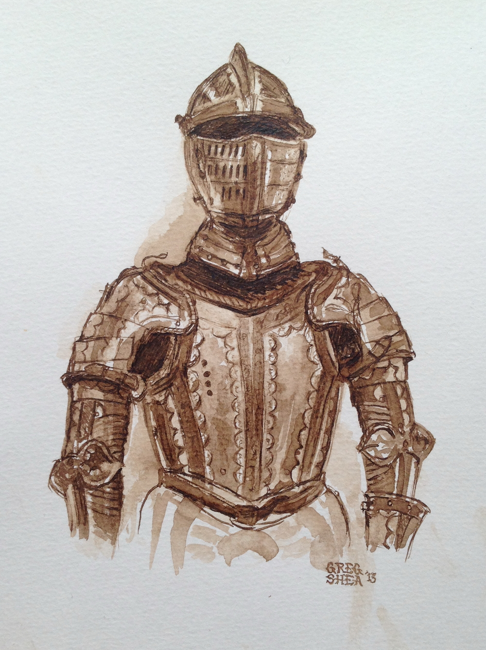 Armor Study  , 2013. Walnut ink with washes on paper. Available for purchase.