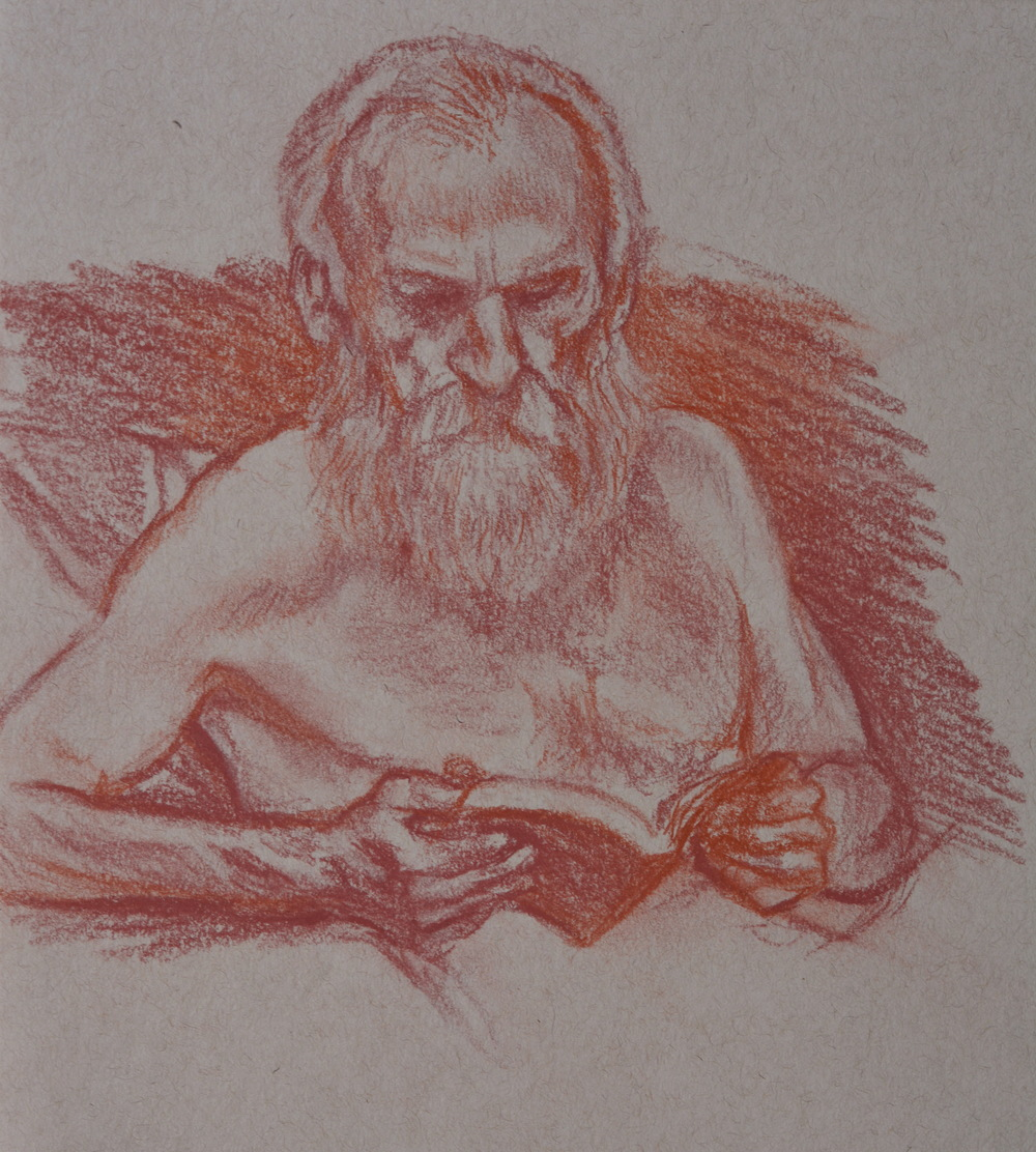Bill Reading  , figure study, 2013. Pastel pencil on toned paper. Available for purchase.