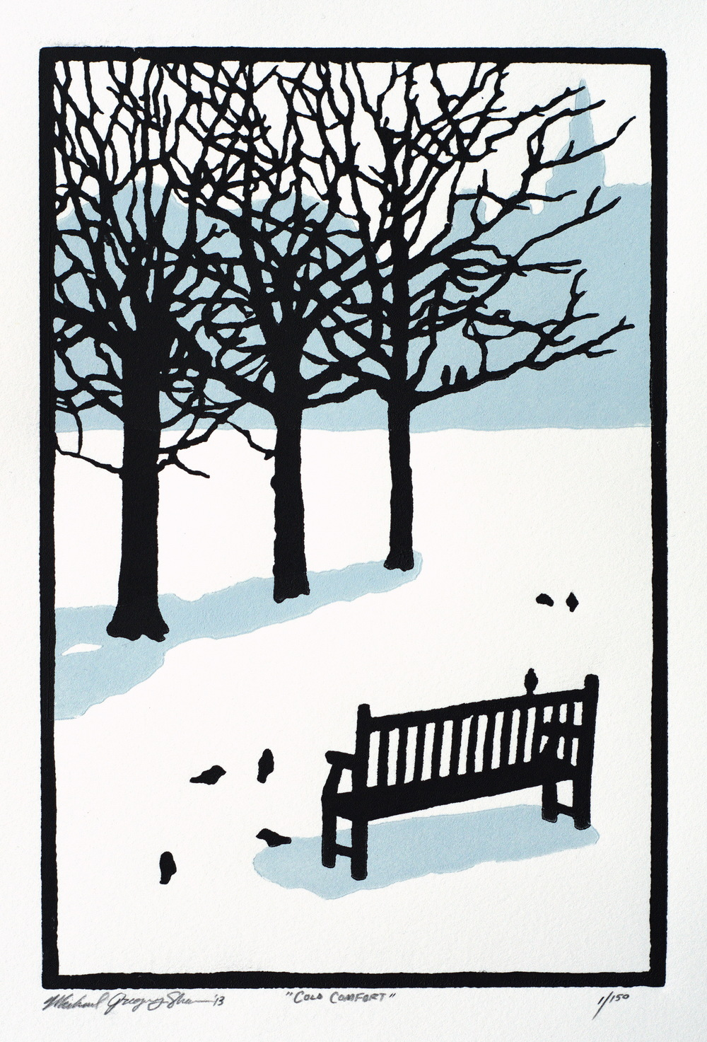 "Cold Comfort  , 2013. Linoleum block print 6 x 9"", edition of 150.   Sold out."