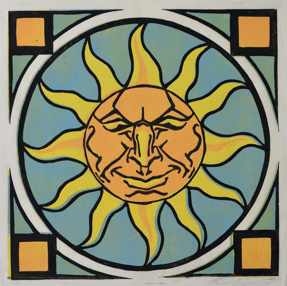 "Solis  , 1993  .    Linoleum block print  ,   12 x 12""  ,   edition of 3  .     Sold out."