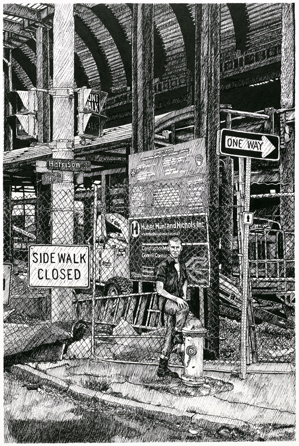 "Signs of New Construction  , 1991. Ink on board, approx. 15 x 20"". Available for purchase."