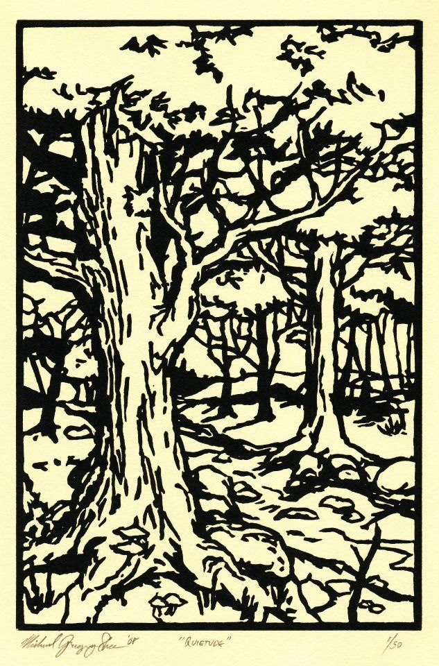 "Quietude  , 2008. Linoleum block print 6 x 9"", edition of 50.  Sold out."