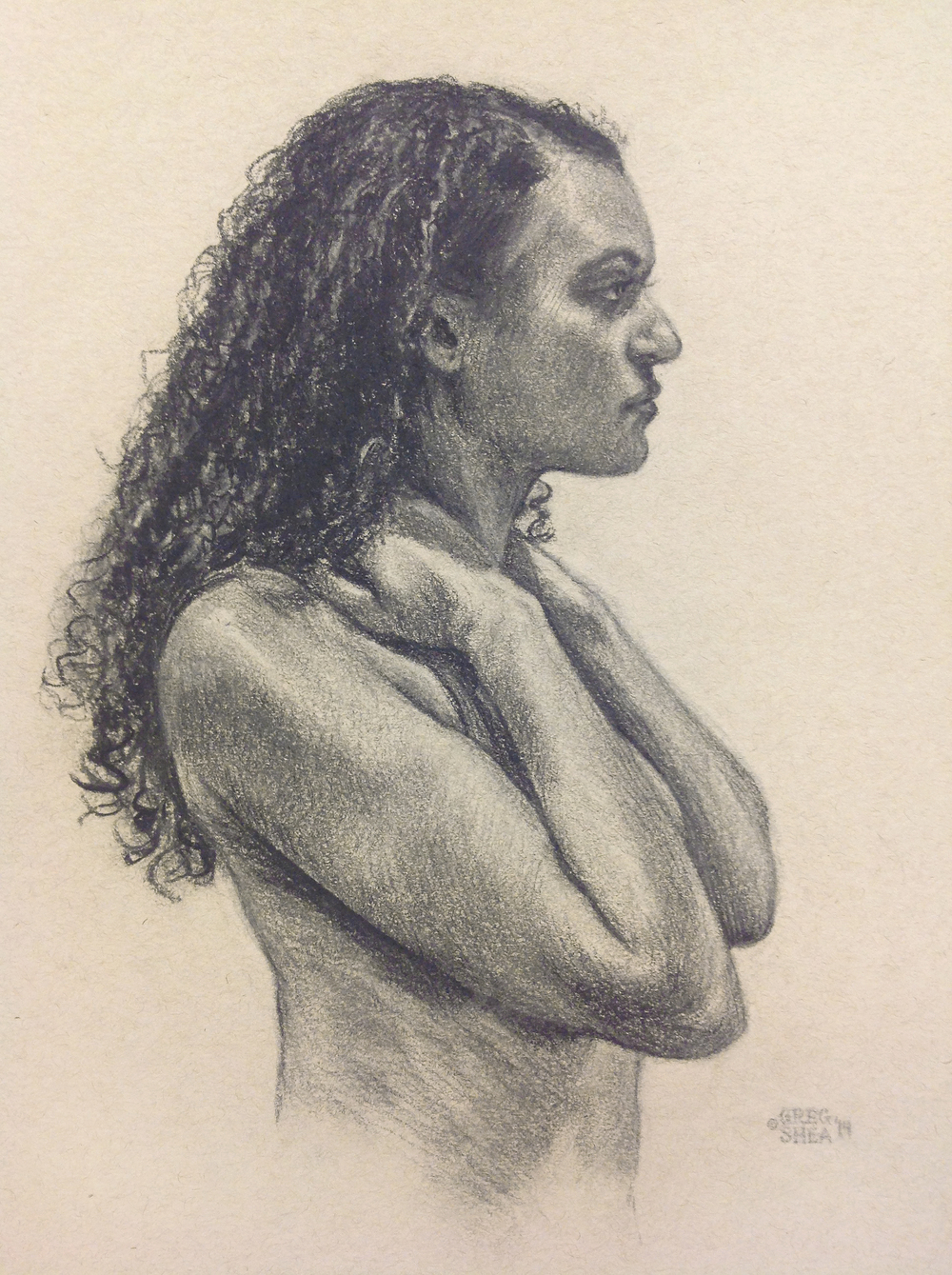 "Angelica  , figure study. 2014. Pastel pencil on toned paper. Image size 8.5"" x 12"". Private collection."