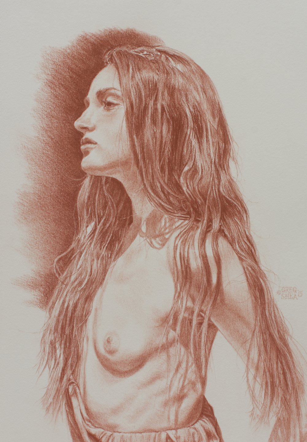 Lethe,  2015. Pastel pencil on toned paper. Available.