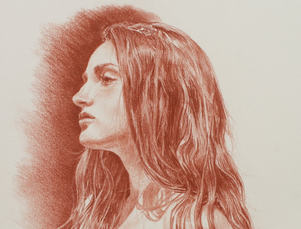 Lethe (detail), 2015. Pastel pencil on toned paper. Available for purchase.