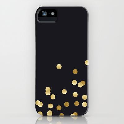 Gold Confetti on Black iPhone Case // $35
