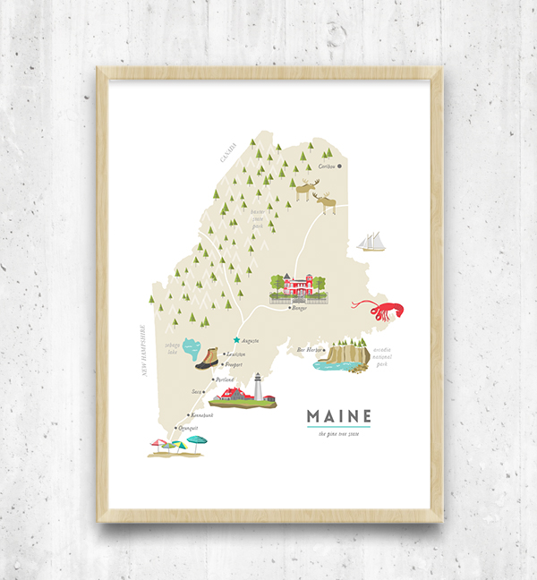 Illustrated map of Maine | ©Katie Chastain