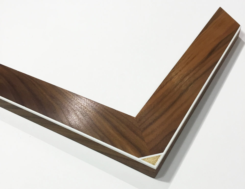 "CORNER NOTE CN6  1.5"" walnut with gold leaf corner"