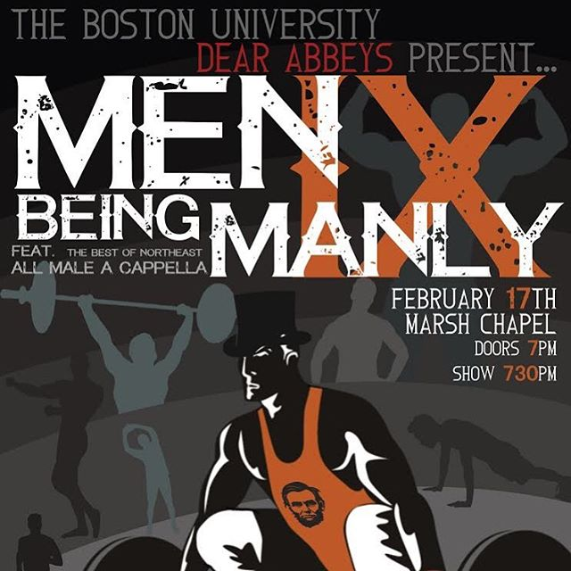 Don't miss the Dear Abbeys, along with some of the best of Northeast all male a cappella, at Men Being Manly this Saturday at Marsh Chapel! The Abbeys, in conjunction with One Love, have a show you won't want to miss so get out there and get your tickets soon! (link for tickets in our bio)