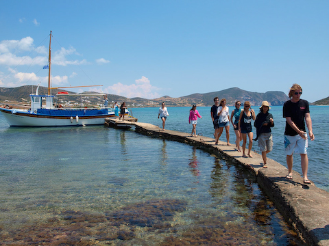 Getting off the boat at Despotiko, near Antiparos