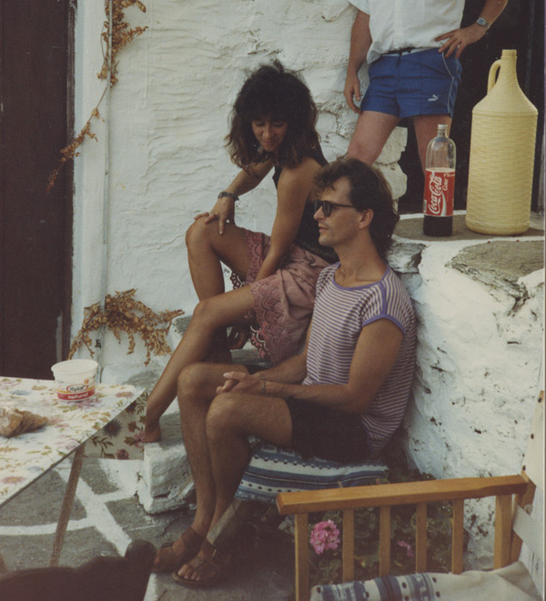 Jane Morris with John Pack.  Jane first came to Paros in 1984 and then became the full time painting and drawing teacher at the Aegean School in 1986.