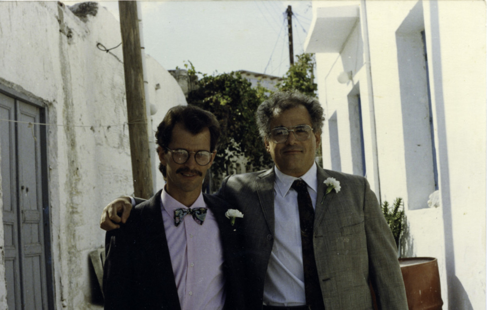 Aegean School director John Pack and writing and art history professor Jeffrey Carson in 1989.