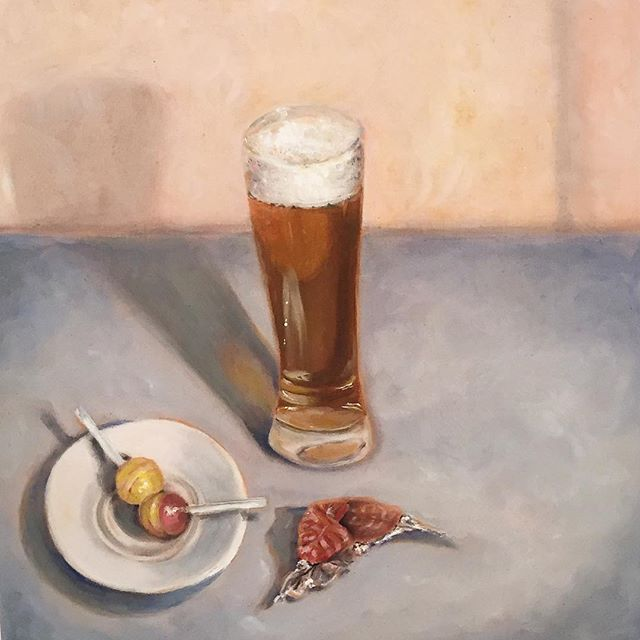 Painting by Claire Hyde. #aegeancenter #paros #oilpainting #oils #studyart #studentwork #studyabroad #islandlife #food #beer #artschool #creative #realisticart @clairehyde