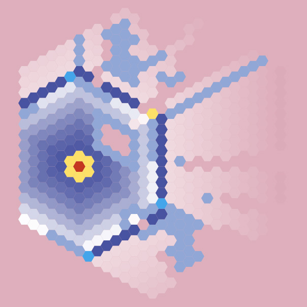 codepen - An exploratory implementation, in p5.js, of Amit Patel's wonderful guide to hexagonal grids.