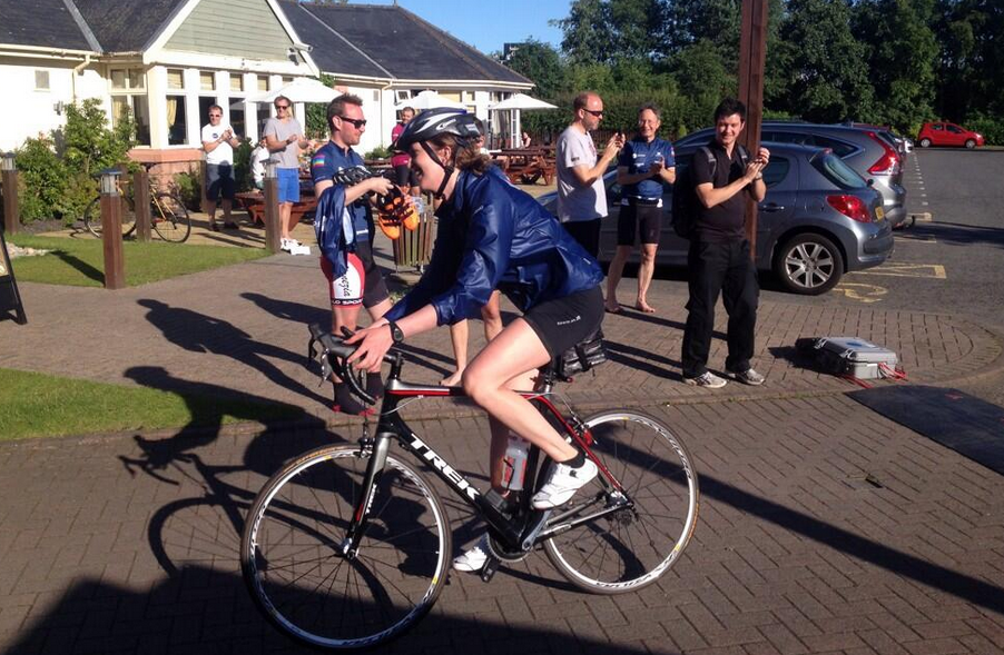 Applause for Hannah of Tuffs de France as she finishes both stages of Day 3 - that's 130 miles of cycling!