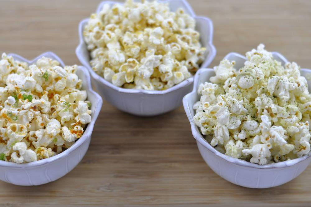 Three fun popcorn flavors - sriracha lime, matcha white chocolate, and dijon and garlic |  from Shiny Happy Bright