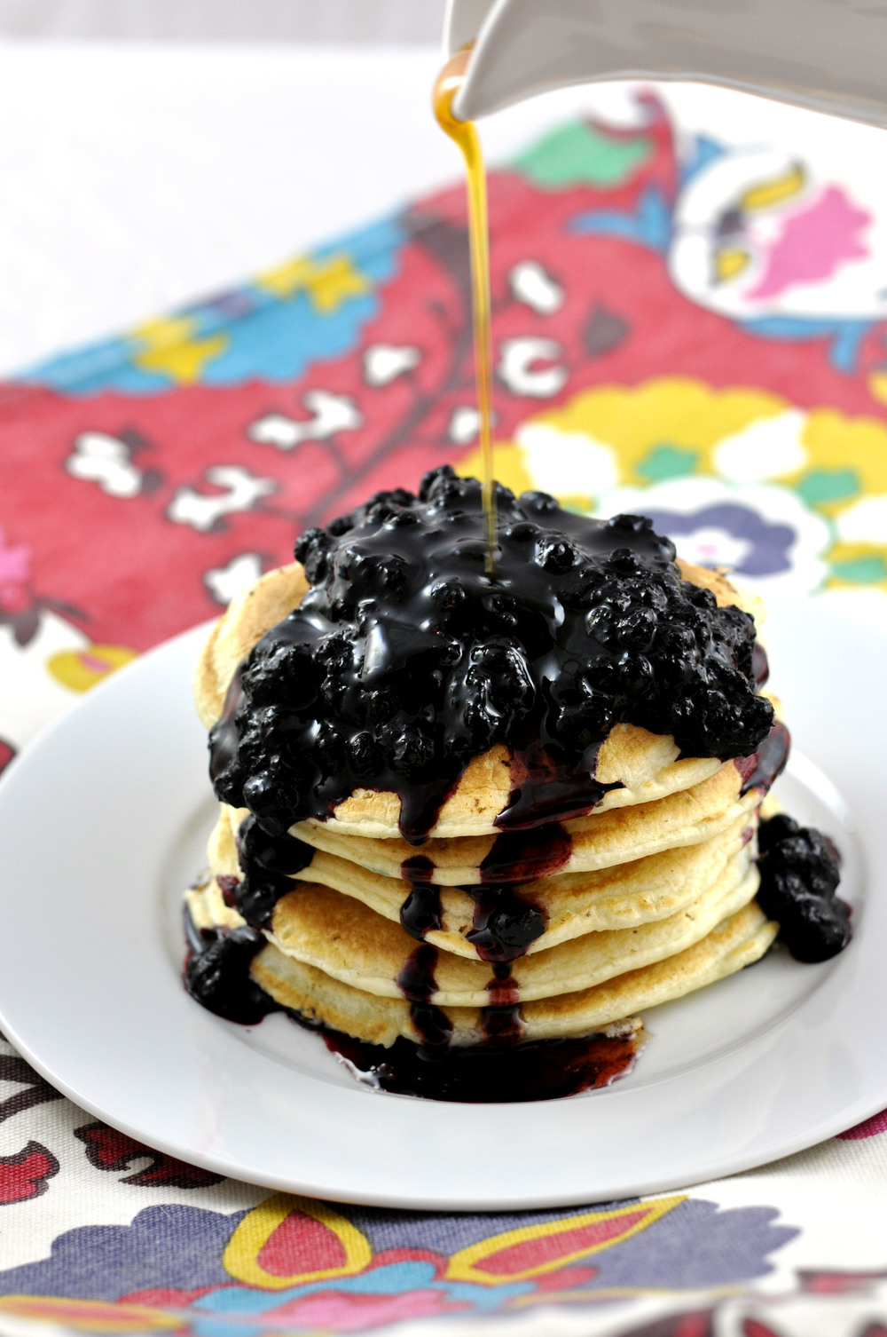 Coconut Almond Milk Pancakes with Blueberry Compote | Shiny Happy Bright