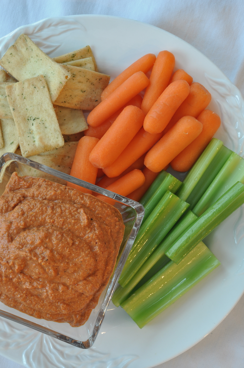 Muhammara (Spicy Red Pepper) Dip with Pita Chips | Shiny Happy Bright