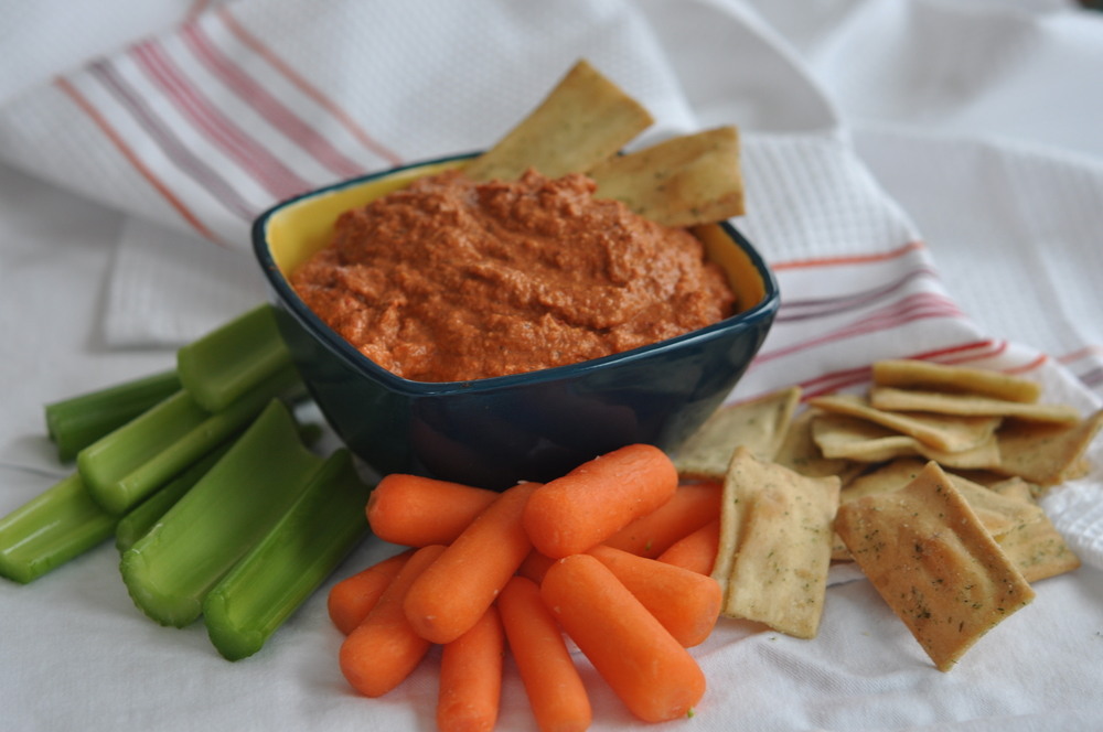 Muhammara (Spicy Hot Pepper) Dip with Pita Chips and Crudites | Shiny Happy Bright