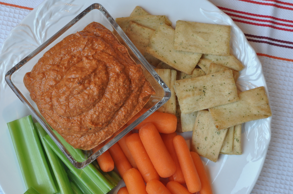 Muhammara (Spicy Red Pepper) Dip with Pita Chips & Crudites | Shiny Happy Bright
