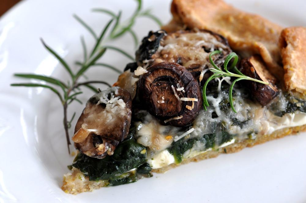 Spinach, Mushroom, Mozzarella Galette | Shiny Happy Bright