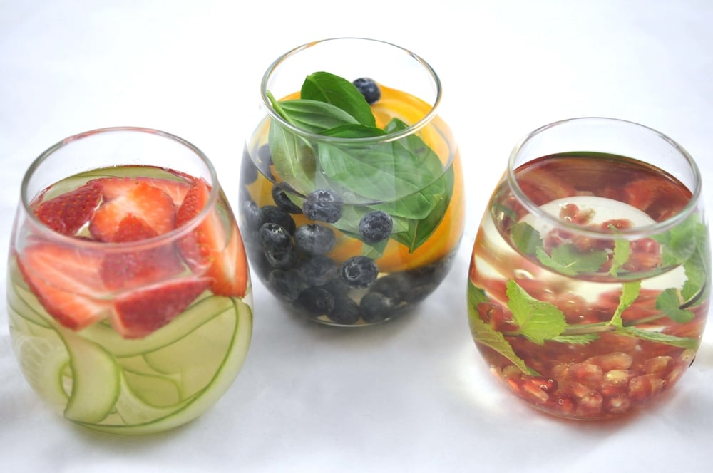 3 Types of Infused Water - Strawberry & Cucumber, Blueberry/Orange/Basil, & Pomegranate/Mint/Green Tea | Shiny Happy Bright