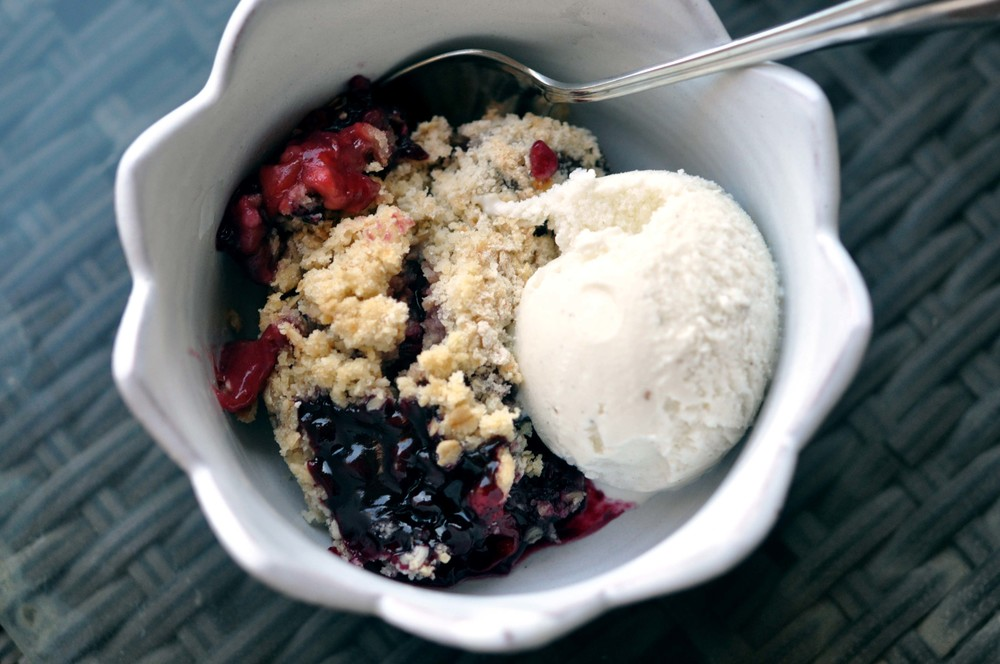 Mixed Berry Crumble with Vanilla Ice Cream | Shiny Happy Bright