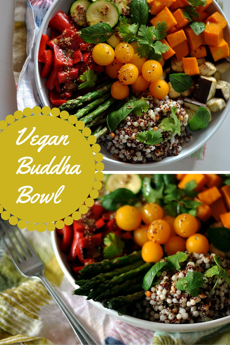 Vegan Buddha Bowl with Roasted Veggies & a Wholegrain Mustard Dressing | Shiny Happy Bright