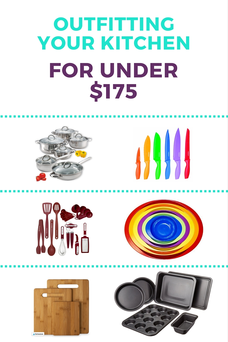Outfitting Your Kitchen for Under $175. How to get the essentials for your kitchen for less. | Shiny Happy Bright