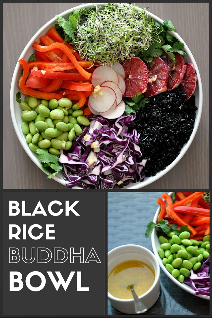Black Rice & Edemame Buddha Bowl with a Citrus Miso Dressing. A simple & easy vegan lunch. | Shiny Happy Bright