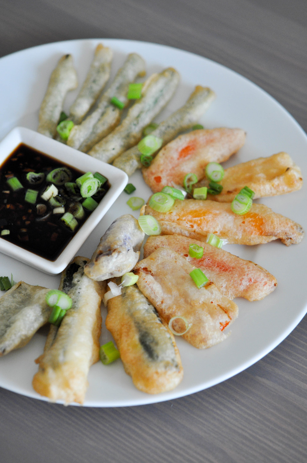 Tempura Vegetables with a Ginger Soy Sauce | Shiny Happy Bright