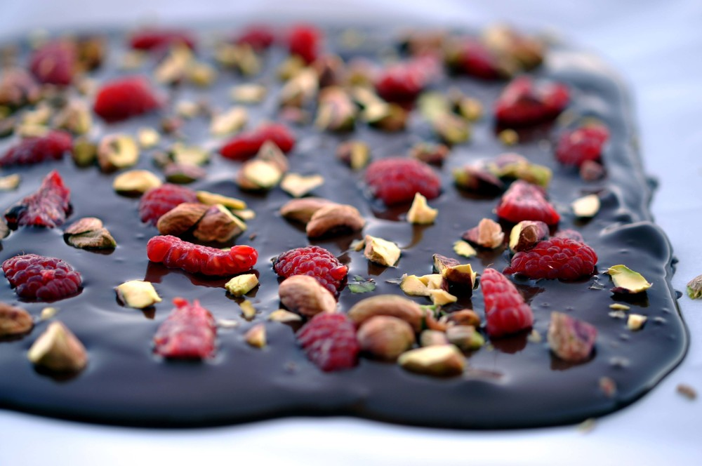 Dark Chocolate Bark with Raspberries & Pistachios - a super simple, 3 ingredient dessert that takes less than 5 minutes of hands-on time.