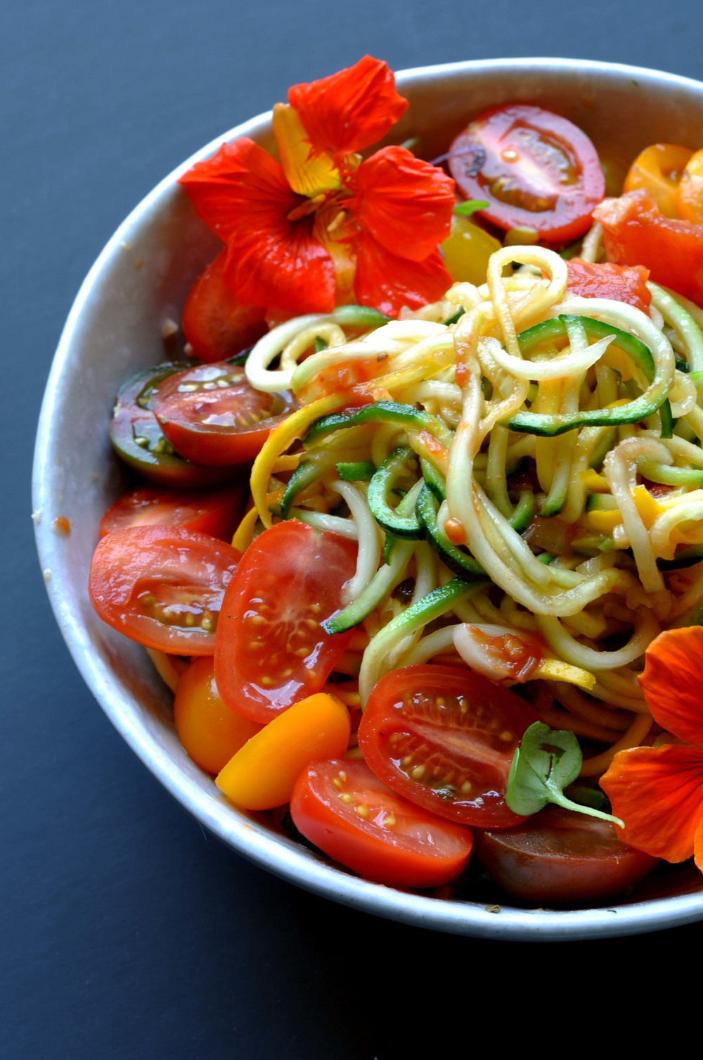 Zucchini Noodles (Zoodles) with Roasted Tomato Sauce & Edible Flowers. Vegan. Vegetarian. Healthy & Quick Recipe.