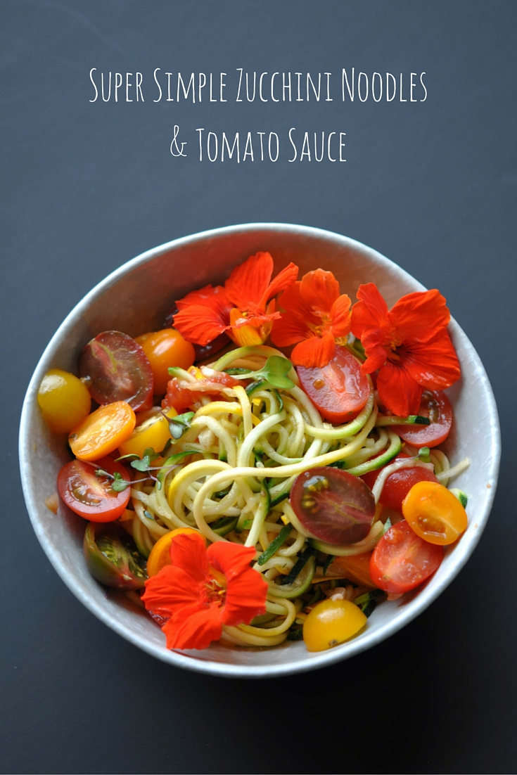 Zucchini Noodles (Zoodles) with Roasted Tomato Sauce & Edible Flowers. Vegan. Vegetarian. Gluten Free. Healthy & Quick Recipe.